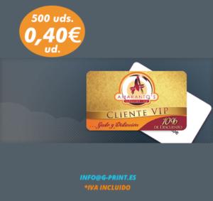 Oferta 500 tarjetas plásticas PVC